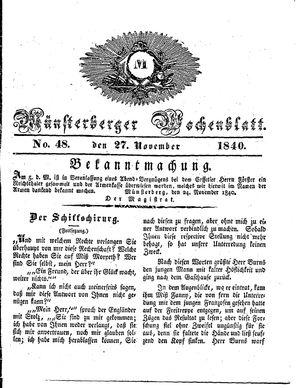 Münsterberger Wochenblatt vom 27.11.1840