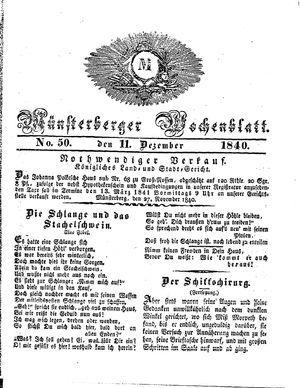 Münsterberger Wochenblatt vom 11.12.1840