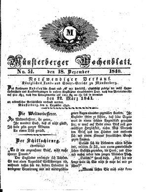 Münsterberger Wochenblatt vom 18.12.1840