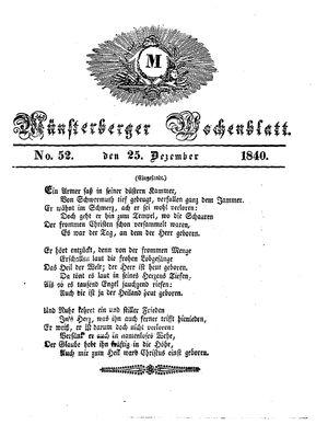 Münsterberger Wochenblatt vom 25.12.1840