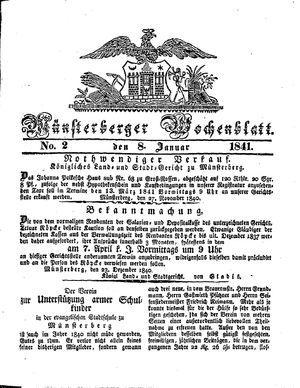 Münsterberger Wochenblatt vom 08.01.1841
