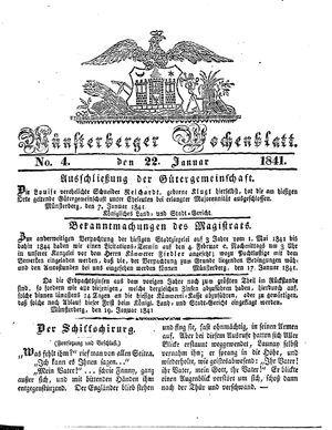 Münsterberger Wochenblatt vom 22.01.1841