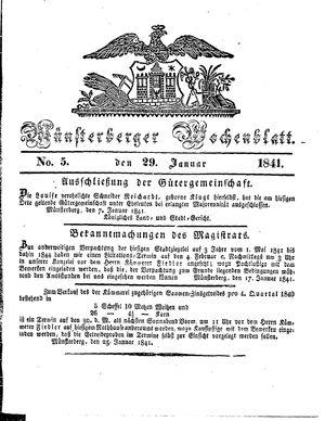 Münsterberger Wochenblatt vom 29.01.1841