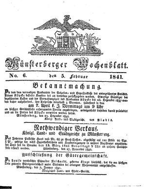 Münsterberger Wochenblatt vom 05.02.1841