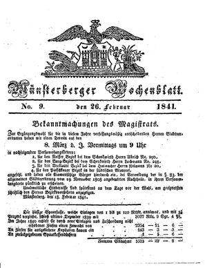 Münsterberger Wochenblatt vom 26.02.1841