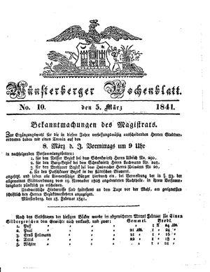 Münsterberger Wochenblatt vom 05.03.1841