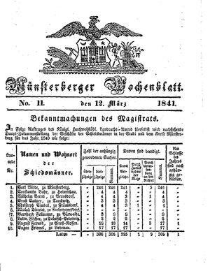 Münsterberger Wochenblatt vom 12.03.1841