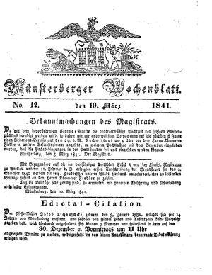 Münsterberger Wochenblatt vom 19.03.1841