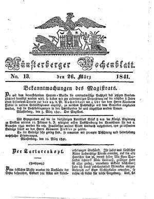 Münsterberger Wochenblatt vom 26.03.1841