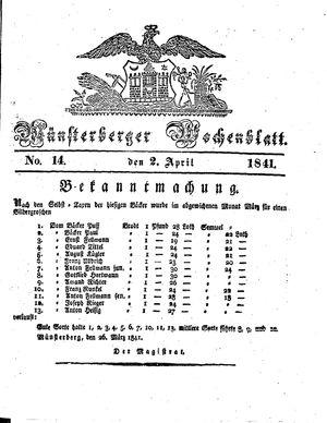 Münsterberger Wochenblatt vom 02.04.1841
