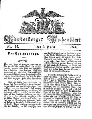 Münsterberger Wochenblatt vom 09.04.1841