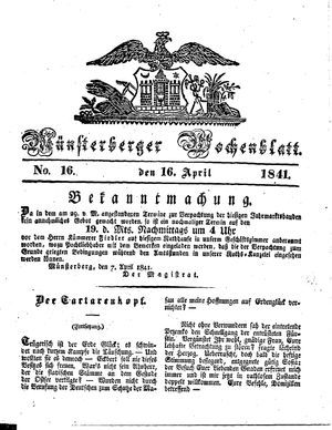 Münsterberger Wochenblatt on Apr 16, 1841