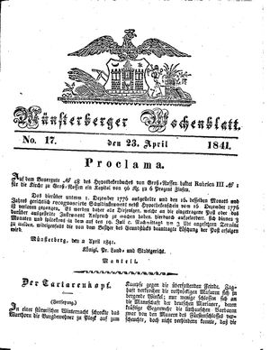 Münsterberger Wochenblatt vom 23.04.1841