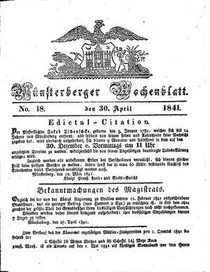 Münsterberger Wochenblatt vom 30.04.1841