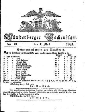 Münsterberger Wochenblatt vom 07.05.1841