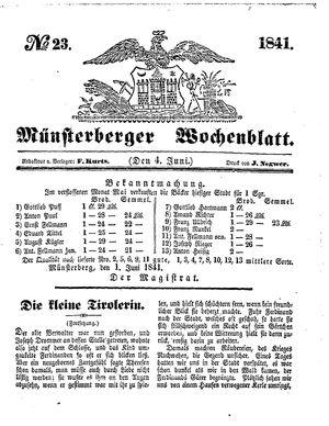 Münsterberger Wochenblatt vom 04.06.1841