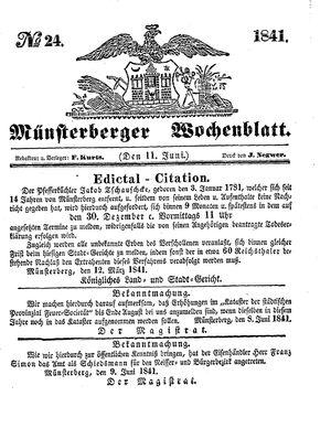 Münsterberger Wochenblatt vom 11.06.1841