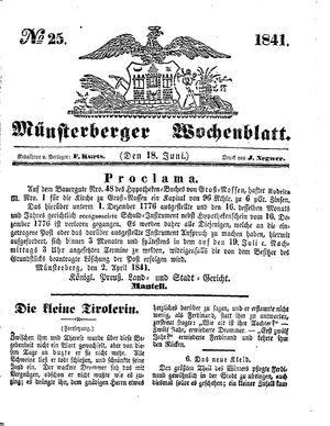 Münsterberger Wochenblatt vom 18.06.1841
