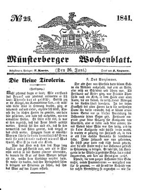 Münsterberger Wochenblatt vom 26.06.1841