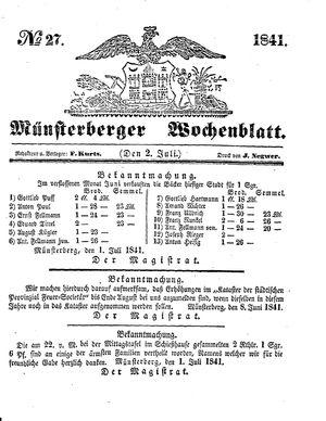 Münsterberger Wochenblatt vom 02.07.1841