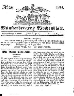 Münsterberger Wochenblatt vom 09.07.1841