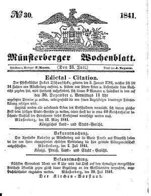 Münsterberger Wochenblatt vom 23.07.1841