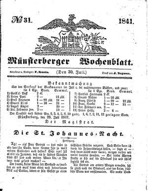 Münsterberger Wochenblatt vom 30.07.1841
