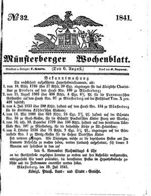 Münsterberger Wochenblatt vom 06.08.1841