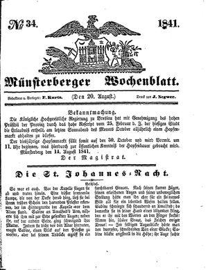 Münsterberger Wochenblatt on Aug 20, 1841