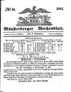 Münsterberger Wochenblatt vom 03.09.1841