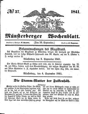 Münsterberger Wochenblatt vom 10.09.1841