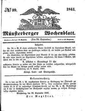 Münsterberger Wochenblatt vom 24.09.1841