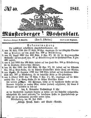 Münsterberger Wochenblatt vom 01.10.1841