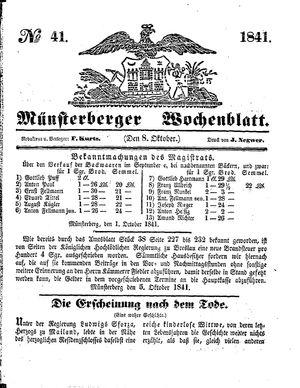 Münsterberger Wochenblatt vom 08.10.1841