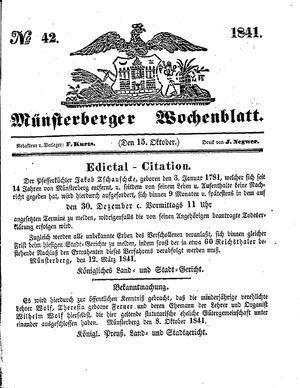Münsterberger Wochenblatt vom 15.10.1841