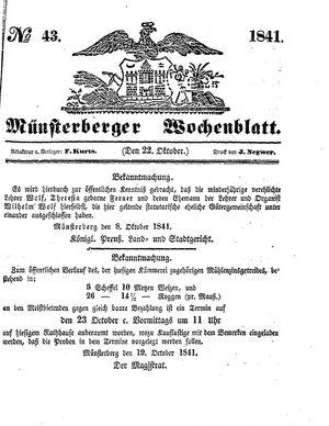 Münsterberger Wochenblatt vom 22.10.1841