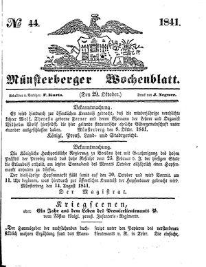 Münsterberger Wochenblatt vom 29.10.1841