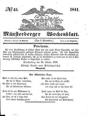 Münsterberger Wochenblatt vom 05.11.1841