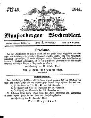 Münsterberger Wochenblatt vom 12.11.1841