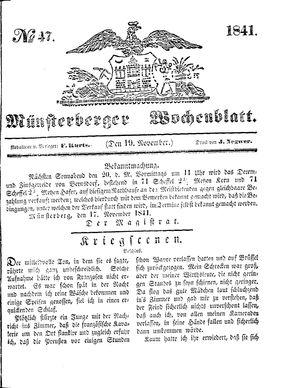 Münsterberger Wochenblatt vom 19.11.1841