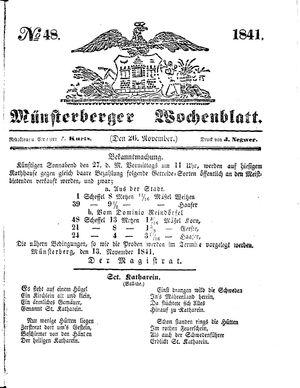 Münsterberger Wochenblatt vom 26.11.1841