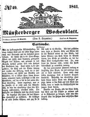 Münsterberger Wochenblatt vom 03.12.1841