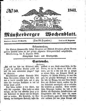 Münsterberger Wochenblatt vom 10.12.1841