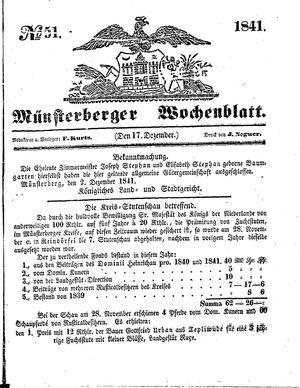 Münsterberger Wochenblatt vom 17.12.1841