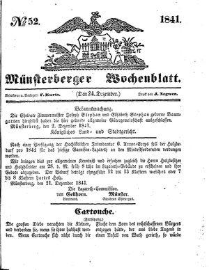 Münsterberger Wochenblatt vom 24.12.1841