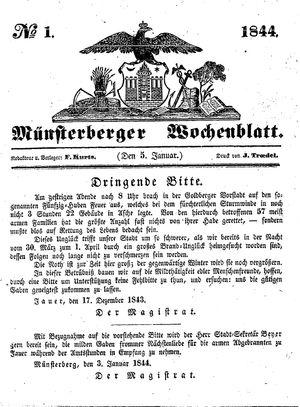 Münsterberger Wochenblatt vom 05.01.1844