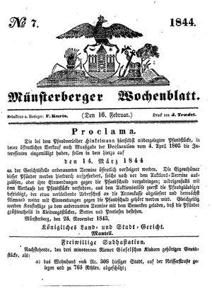 Münsterberger Wochenblatt vom 16.02.1844