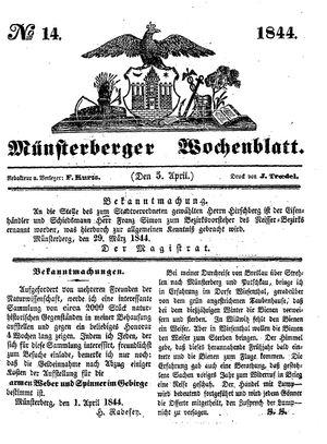 Münsterberger Wochenblatt vom 05.04.1844