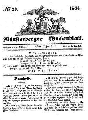 Münsterberger Wochenblatt vom 07.06.1844