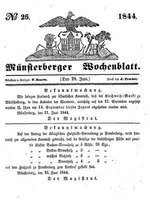 Münsterberger Wochenblatt vom 28.06.1844